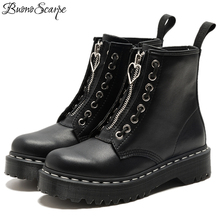 Platform Women Boots Motorcycle-Boots Thick Bottom Black Real-Leather Punk Buono Zipper