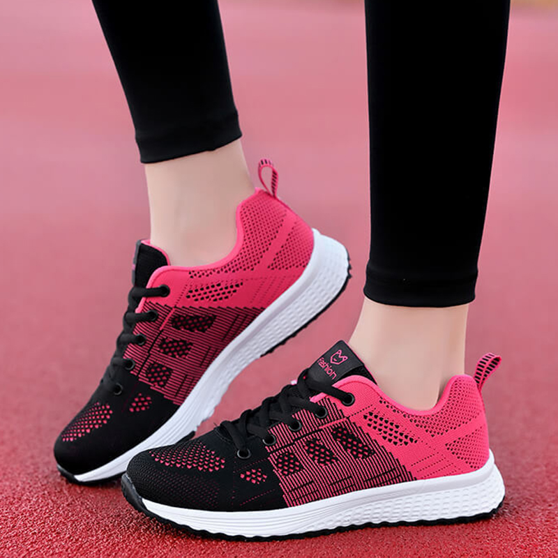 Women Shoes Casual Sneakers Women Trainers Fasion Lace-Up Breathable Mesh Walking Shoes Women Tenis Feminio