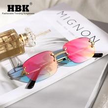 HBK rettangolo occhiali da sole senza montatura donna donna piccolo specchio senza cornice occhiali da sole montatura in lega classico Designer di marca tonalità marrone
