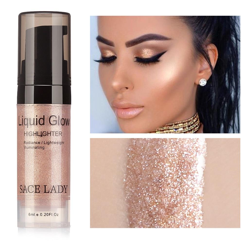 SACE LADY Liquid Highlighter Makeup Bronzer Glow Face Contour Brightener Shimmer Illuminator Highlight Cosmetics