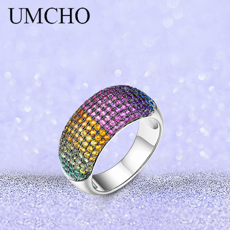 UMCHO 2020 Brand Jewelry Fine Jewelry Silver Color Inlay Cubic Zirconia Ring For Women Wedding Engagement Size-C0430(China)