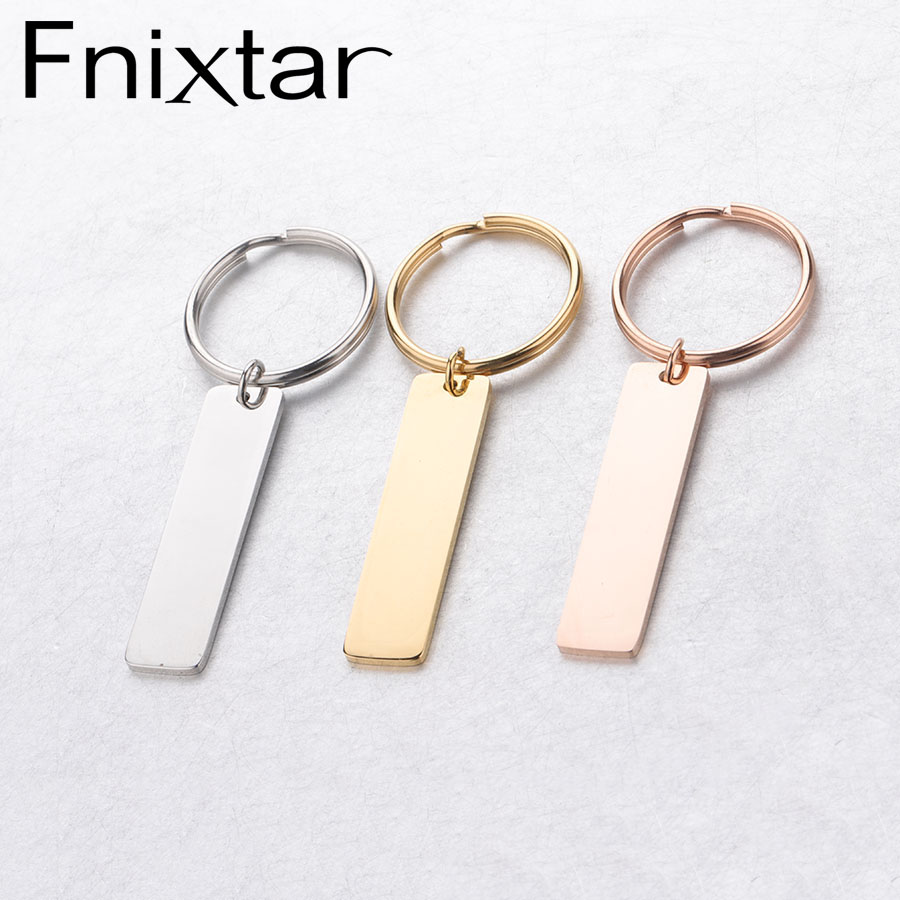 Fnixtar индивидуальные Выгравированные бирки для связки ключей из нержавеющей стали DIY штамповка пустой прямоугольник бар брелок зеркальная полировка 10 шт./лот