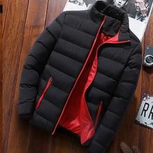 2019 Men Casual Hooded Parka Salomon Printed Winter Men Fashion Patchwork Cotton Slim Fit Coat Thick