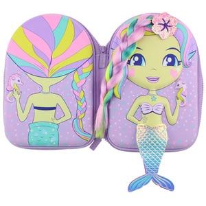 Image 2 - kawaii Pencil case school for girls cartoon mermaid doll pen box realistic modelling creative stationery box school supplies