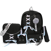 2019 Chain Canvas female book bag backpack 5pcs/set schoolbag school ba
