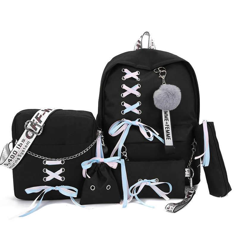 2019 zincir tuval kadın kitap çantası sırt çantası 5 adet/takım okul çantası okul çantası seyahat paketi moda püskül kadın genç gençler kız