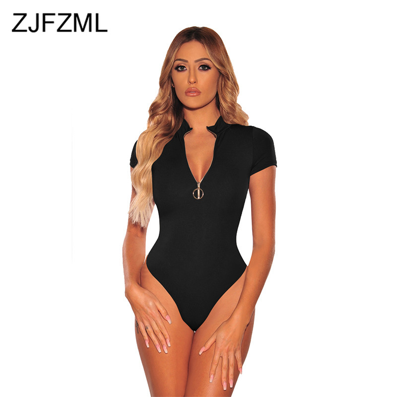 Sexy Zipper Front Bandage Bodysuit Women Stand Collar Solid Bodycon Short Jumpsuit 2020 Causal Short Sleeve One Piece Playsuit