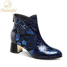 Boot Women Basic-Shoes Back-Zipper High-Heels Embroider Winter Genuine-Leather Phoentin