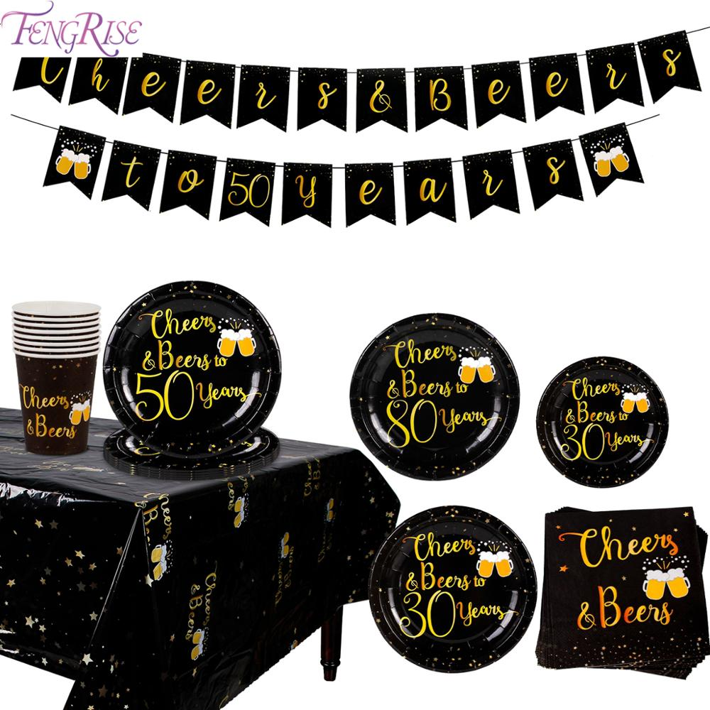 Disposable Tableware 30th 40th 50th 60th <font><b>70th</b></font> 80th 90th Black Gold <font><b>Birthday</b></font> Party Decor Adult 40 50 60 <font><b>Birthday</b></font> Party Supplies image