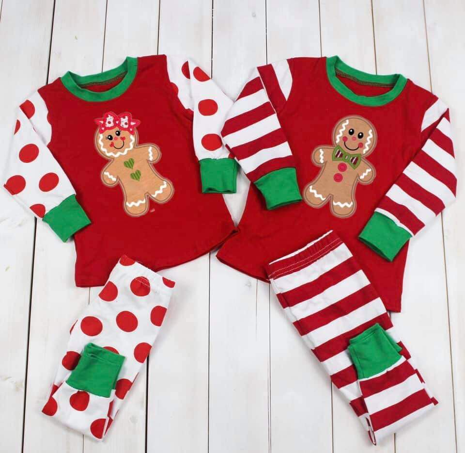 Christmas matching gingerbread pajamas for boy and girls