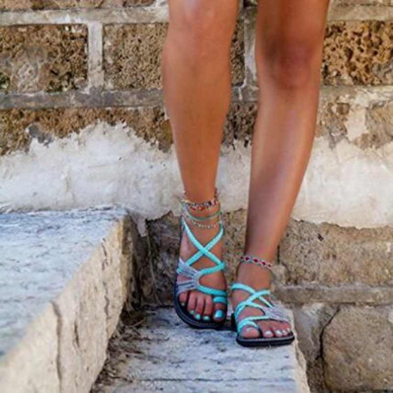 Wanita Sandal Flat Kasual Fashion Sandal Musim Panas Sepatu Wanita Datar Sandal Roma Cross Diikat Sandal Sepatu 2020