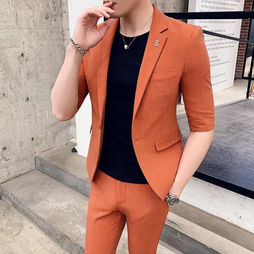 2 Suit Suit Men 2020 Summer Design Men's Suit Suitable For Wedding Dress Dress Tuxedo Suit Gray Black Clothing Mariage Homme