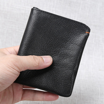 Slim Men's Wallet Genuine Leather Casual Small Purse Credit Business Card Holder Wallet Bifold Mini Money Bag Coin Purse NUPUGOO williampolo 2019 men wallet short bifold credit card holder genuine leather organizer slim multi card case business casual purse