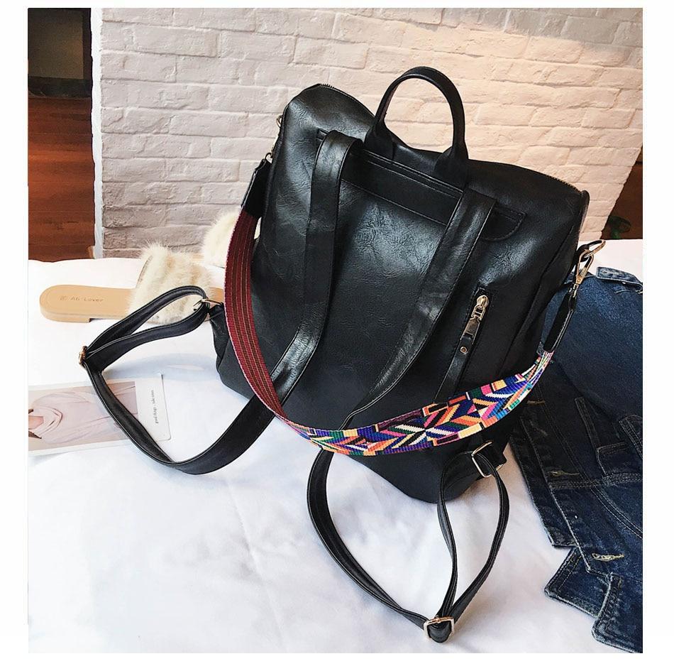 H2c3a75a878d14943bb8daab910d278efT Leather Backpack Women 2019 Students School Bag Large Backpacks Multifunction Travel Bags Mochila Pink Vintage Back Pack XA529H