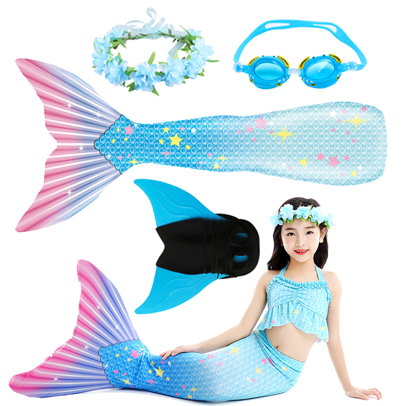 Little Mermaid Tails For Swimming Costume Mermaid Tail Cosplay Kids Children Swimmable Suit Monofin Mermaid Costume For Girls