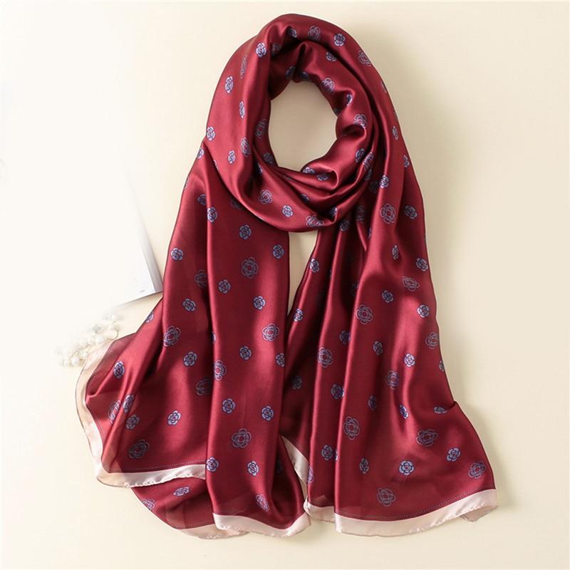 Роскошный брендовый шелковый шарф, Женские Простые шали и палантины с буквенным принтом, модные длинные большие женские солнцезащитные шар...