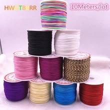 Corda de nylon trançada para pulseira, corda de borlas, diy, cabo chinês, macrame, nó, pulseira, corda com miçangas, 10, metros/lote, 0.8mm/1.0mm thread linha