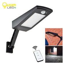 Luz solar ao ar livre lâmpada de parede pir sensor de movimento solar conduziu a luz ao ar livre 48/60led 4 modos com lâmpadas solares de controle remoto