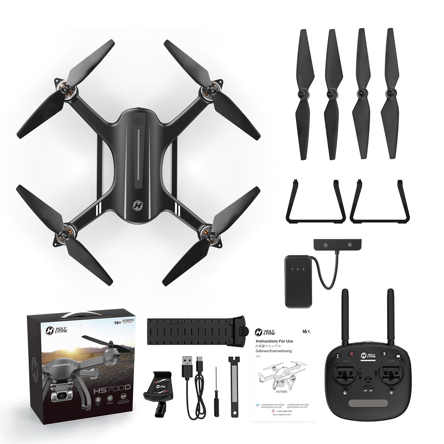 Professional Drone-2K FHD Camera-WI-Fi FPV Live Video-GPS-5GHz  Aerial Photography