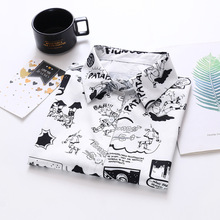 Summer New Fashion Women Short Sleeve White And Black Cartoon Letters Print Loose Tops Blouses Casua