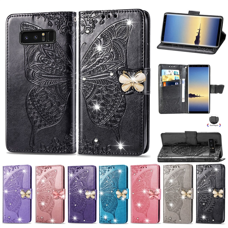 Flip Magnetic Wallet Phone Case For Samsung Note 8 Butterfly Diamonds TPU Leather Back Cover With Card Slot Stand Holder Coque