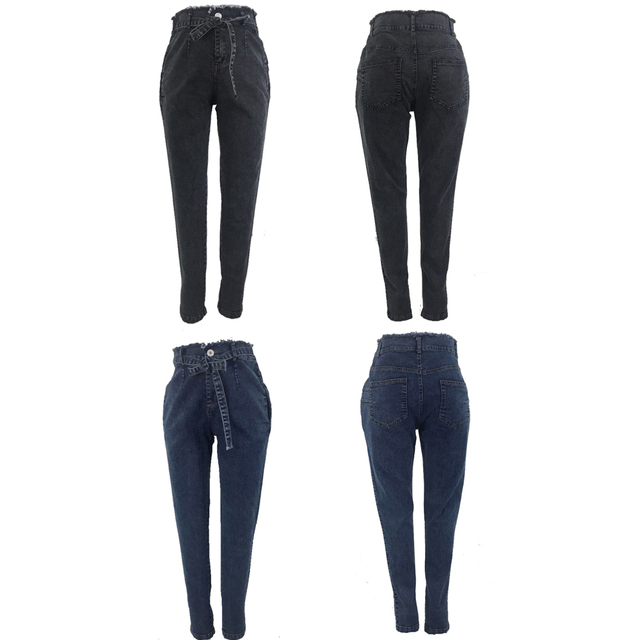 High Waist Jeans For Women Slim Stretch Denim Jean Bodycon Tassel Belt Bandage Skinny Push Up Jeans Woman 5