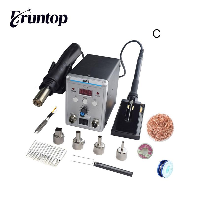 New Eruntop 8586 Double Digital Display  Electric Soldering Irons +DIY Hot Air Gun Better SMD Rework Station
