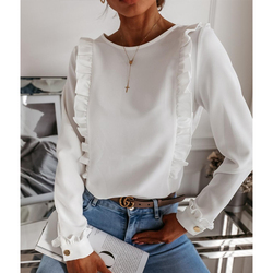 Women Autumn Long Sleeve Ruffle White Blouses Casual O Neck Blouse Lady Office Shirt Fashion Single Breasted OL Tops