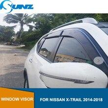 цена на Black Car Window Deflector Visor  For NISSAN Rogue X-TRAIL t32 2014 2015 2016 2017 2018  Side window deflectors SUNZ