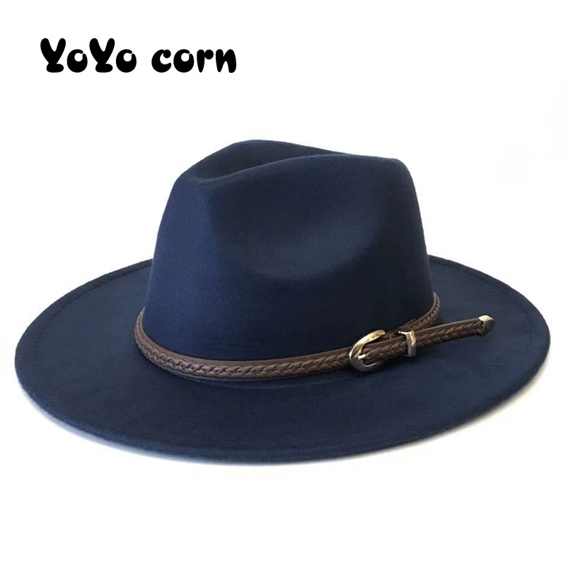 YOYOCORN Men Sombrero Bowler Church Trilby Hats For Women Gorra Mujer Cap Belt Chapeau Femme Vintage Fashionable Felt Fedora Hat