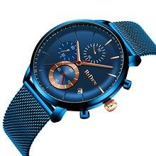 BIDEN New Collection Men Watch 2019 Male Clock Modern Fashion Dress Relojes Para Hombre Mesh Chronograph Date Relogios Masculino relogios relojes 8023