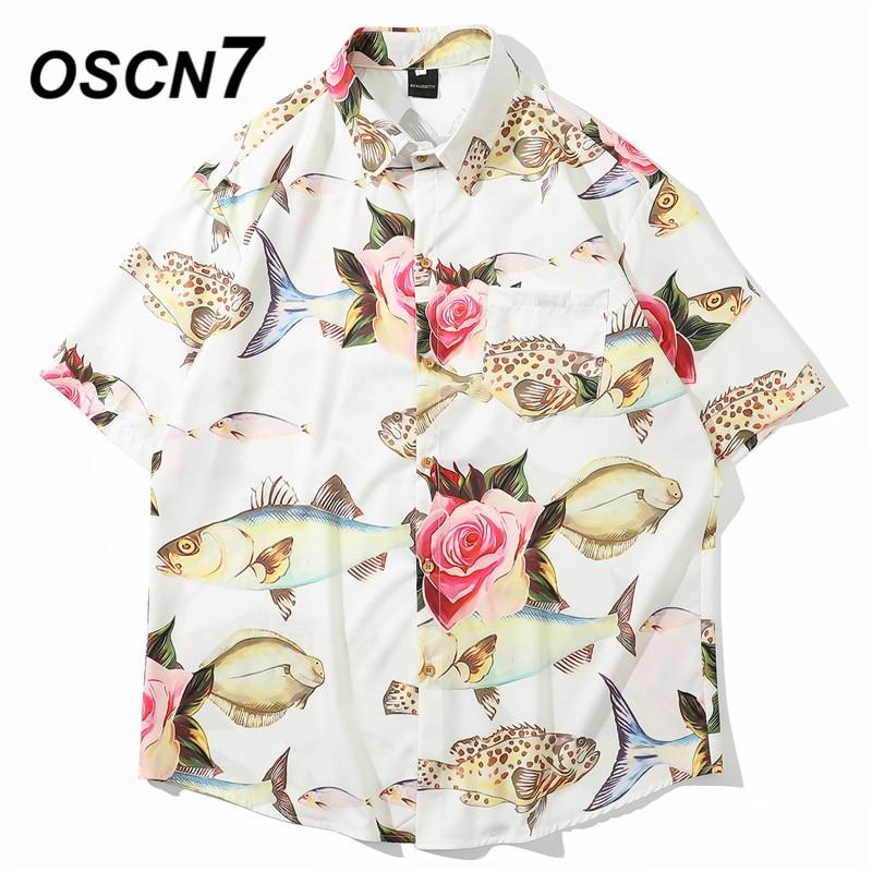 OSCN7 Casual Streetwear Beach Printed Short Sleeve Shirt Men 2020 Hawaii Oversize Fashion Harujuku Women Shirts 8005