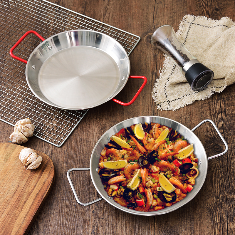20-30cm Thickened Stainless Steel Paella Pan Spanish Seafood Frying Pot Non-stick Cheese Rice Cooker Food Fruit Plate Container