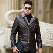 New autumn and winter plus size fertilizer XL men's leather clothing windproof rainproof middle-aged elderly fur male big(China)