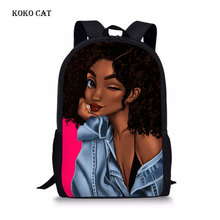 Koko cat  School Bags Backpack Girls African Black Schoolbag Teenager Beauty Backpacks Children Schoolbags Mochila