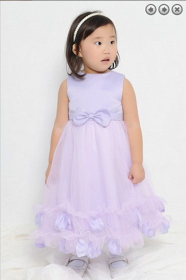 Free Shipping Flower Girl Dresses For Weddings 2016 Lavender Purple Dress First Communion Christmas Pageant Dresses For Girls