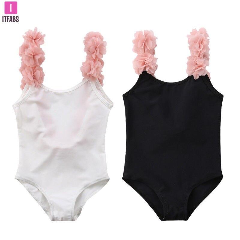 Цельный купальник для маленьких девочек, купальный костюм с 3D цветочными лямками, женский купальный костюм, детская пляжная одежда