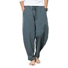 Осенние штаны-шаровары размера плюс в стиле хип-хоп, мужские повседневные свободные штаны на завязках, джоггеры 5XL, китайский стиль, хлопковые льняные штаны для мужчин