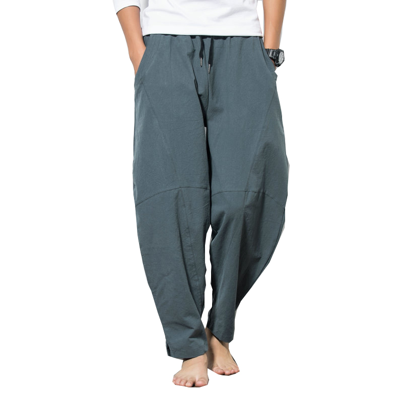 2019 Autumn Plus Size Hip Hop Harem Pants Men Casual Loose Trousers Drawstring Joggers 5XL Chinese Style Cotton Linen Pants Men