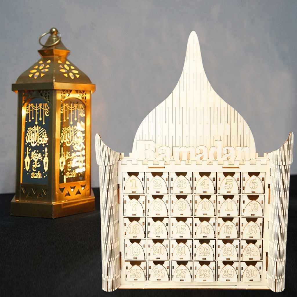 Ywengouy Wooden MDF Drawer Eid Ramadan Mubarak Advent Calendar Muslim Islamic Decorations Ornament Party Supplies