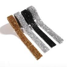 Ruban applicateur de Strass à Motif cristal, 1 mètre, ruban avec Strass à fixer à chaud, à repasser sur les robes, nouvelle collection