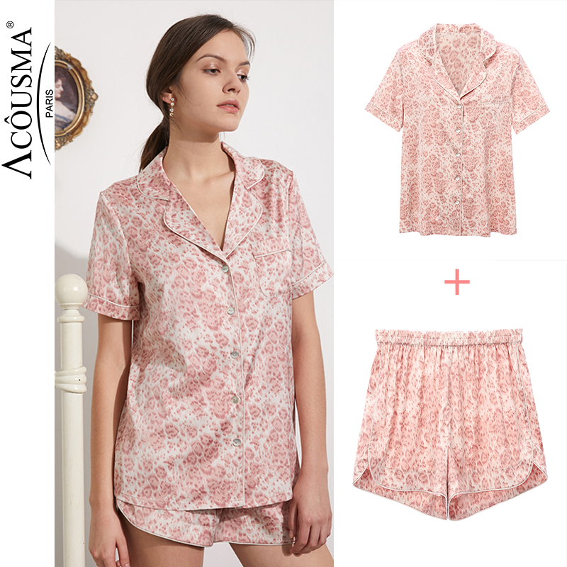 Woman Summer Pajamas Set Sexy  Satin Faux Silk  Short Sleeves Suit Sleep Lounge Pyjama  Two Piece Set Lounge Plus Size