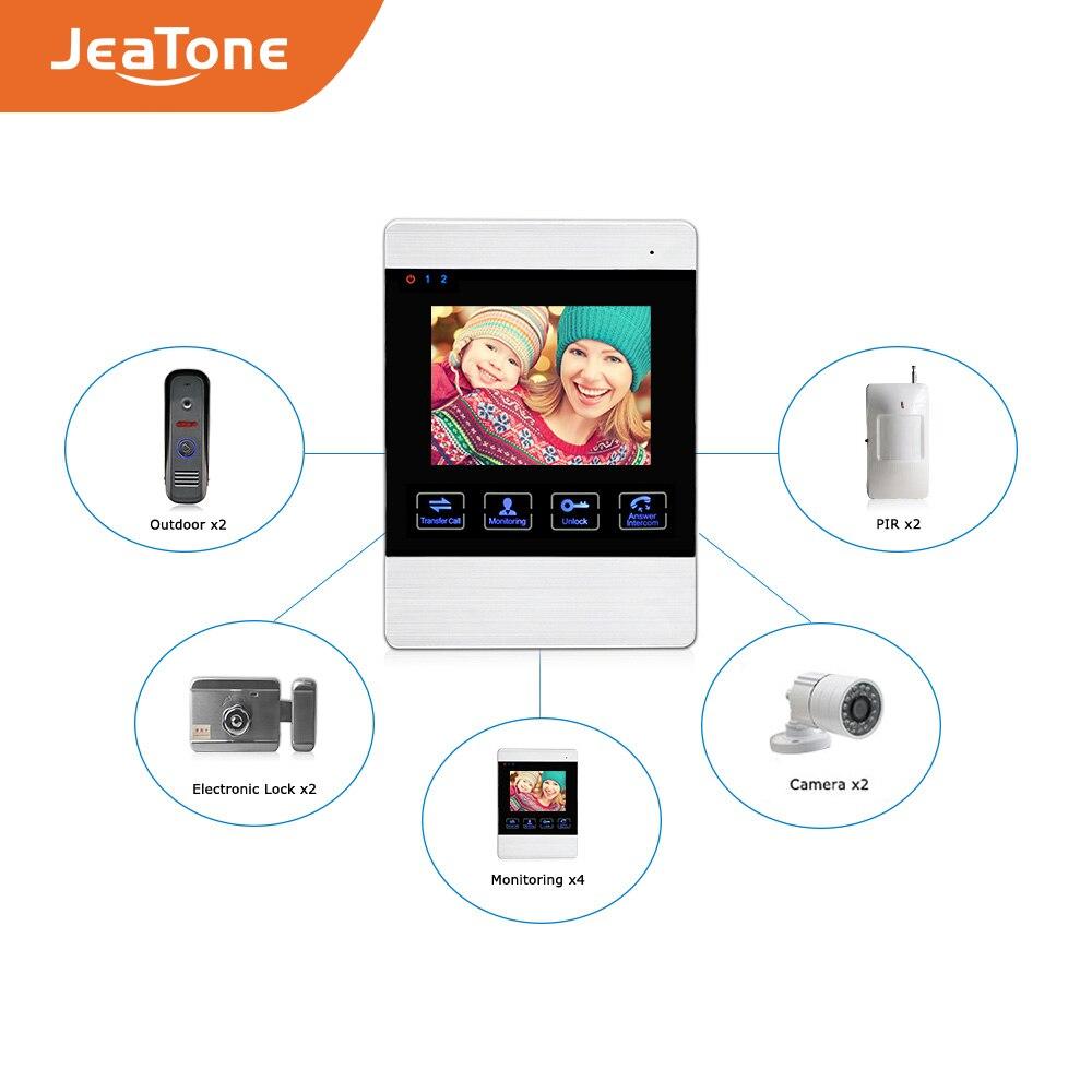 Купить с кэшбэком JeaTone 4 inch TFT Wired Video Door Phone Intercom Doorbell Home Security Camera System Picture Memory& Video Recording function