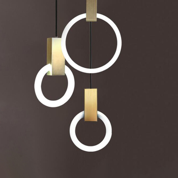 Nordic Chandelier Restaurant Lights Creative Individual Art Designer Individual LED Ring Staircase Bedroom Small Chandelier