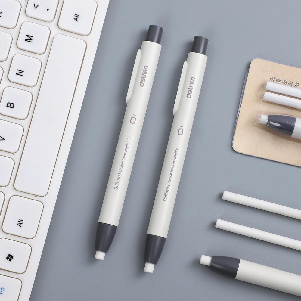 1set Creative Simplicity Easily Press Eraser Student With Stationery Retractable Pen Shape Eraser School Supplies Kawaii