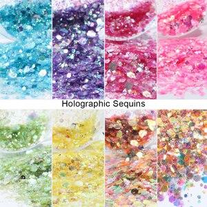 Image 2 - 8 Box/Set Spangles for Nails Holographic Mermaid Nail Art Sequins Gel Polish Flakes Manicure Glitter Powder Decor LA1506 02 1