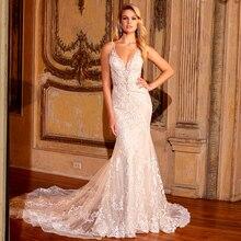 2020 Elegant SHINY Mermaid Gowns แต่งงาน Vestidos De Novia Corte Sirena เซ็กซี่ V คอ Backless Appliques ลูกไม้ประดับด้วยลูกปัดชุด