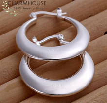 Charmhouse Hoop Earrings for Women Silver 925 Moon Ear Cuff Brincos Femme Pendientes Wedding Bridal Jewelry Accessories Gifts