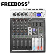 Freeboss ADM GBR6 48V Phantom Power Repaeat Effect USB Function Bluetooth Karaoke DJ console 99DSP Mixer Audio 6 Channel