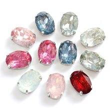 10x14mm cristal oval opala resina costurar em strass com garra de prata para vestuário acessórios diy